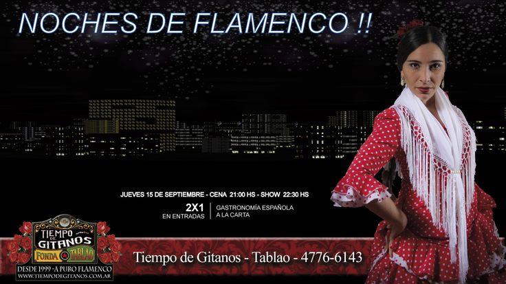 """#Palermo - #BuenosAires  """"Tiempo de Gitanos"""" Tablao Flamenco, es una invitación a un viaje por la España del mejor Flamenco  y de la comida imperdible...  Un regalo para el alma y el cuerpo."""