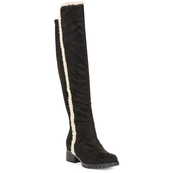 Karl Lagerfeld Paris Women's Baron 2 Sherpa-Trimmed Faux Suede Boots (125 AUD) ❤ liked on Polyvore featuring shoes, boots, black, round toe black boots, synthetic boots, black faux boots, knee length boots and black knee length boots
