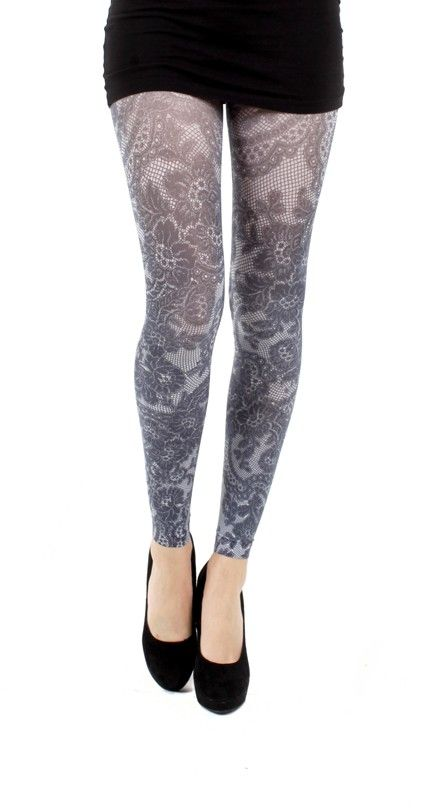 Lace Frill Printed Footless Tights - Pamela Mann