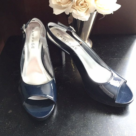 Rampage navy patent peep-toe platform pumps  SALE! Gorgeous patent peep-toe pumps that are too pretty to sit in the closet. Strut your Pretty Woman stuff in these fabulous shoes! Brand new in box! Rampage Shoes Heels