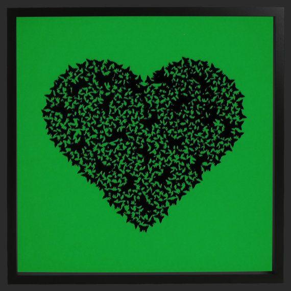 Butterfly 3D black heart on glow in the dark by CreativityWings