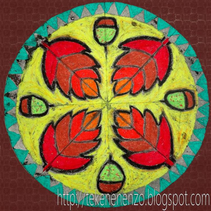 Mandala met herfstblaadjes