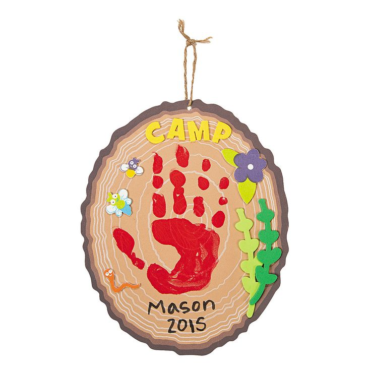 Could we do this on a real block of wood?   Camp Courage Power Handprint Craft Kit - OrientalTrading.com