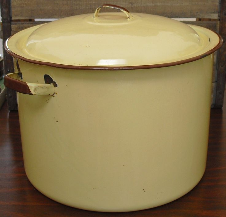 Yellow Enamel StockPot & Lid, Yellow Enamelware StockPot, Stock Pot Enamel Ware, Farmhouse Pail, Rustic Decor, Country Flower Pot, Soup Pot by AgsVintageCove on Etsy