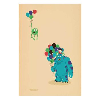 Jay Fleck Michael Wazowski A1 Unframed Print: Awesome Monsters Inc. inspired print from Jay Fleck.