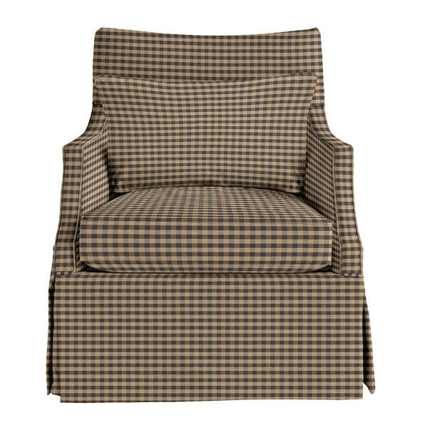 :Small Check Gray The Larkin Swivel Glider Combines The Soothing Comfort Of  A Swivel Glider