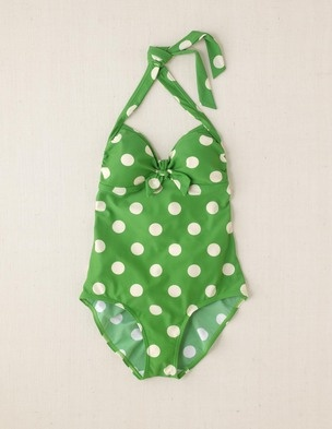 Swimsuit, green with white polka dots-$78  Via - http://www.etsy.com/listing/89214548/clutch-purse-gray-and-white-chevron