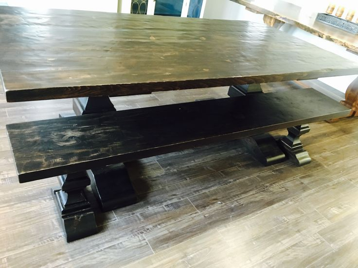 Reclaimed Pine Harvest Table with Matching Bench and Espresso Stain