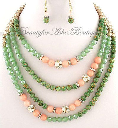 BEAUTY FOR ASHES JEWELRY GREEN STONE CRYSTAL ACRYLIC BEADED LAYERED NECKLACE SET #Beaded