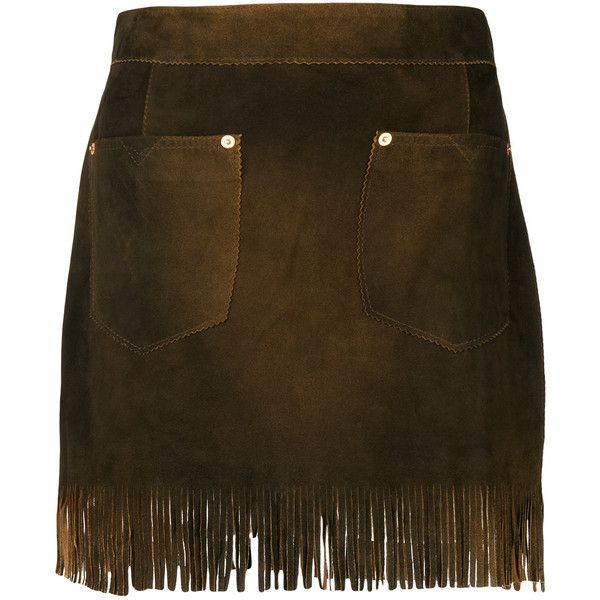 Diesel fringed mini skirt ($335) ❤ liked on Polyvore featuring skirts, mini skirts, brown, fringe mini skirts, fringe skirt, short fringe skirt, short mini skirts and brown skirt