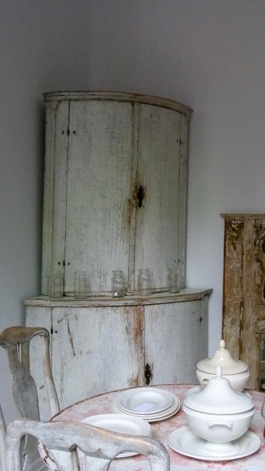 Corner Cabinet and ironstone