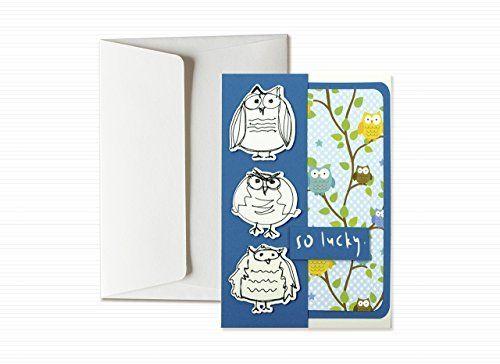 Suerte- buenas Fortuna- tres búhos divertidos - tarjeta de felicitación y sobres (formato 15 x 10,5 cm) - vacío por dentro, ideal para su mensaje personal - totalmente artesanal.