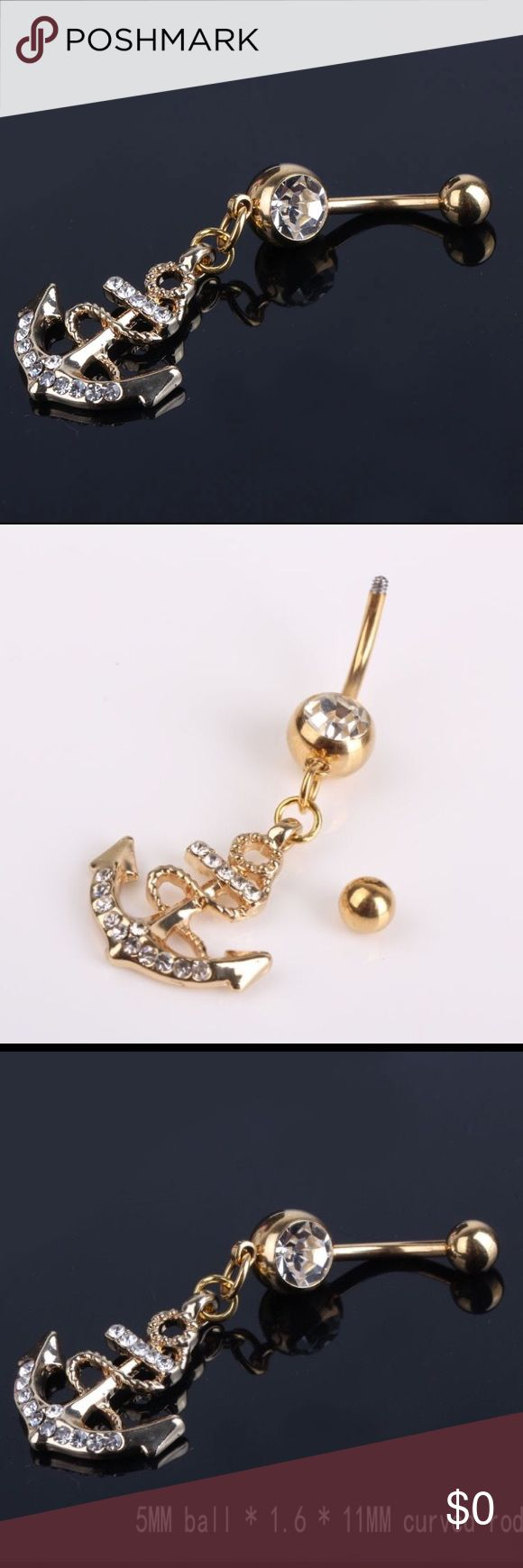 🆕COMING SOON CRYSTAL ANCHOR NAVEL/BELLY RING GOLD 🆕📦COMING SOON. BRAND NEW IN CLEAR PACKAGING SILVER ANCHOR NAVEL/ BELLY RING      MATERIAL: GOLD PLATED. BALL. 5mm*1.6. 11mm CURVED ROD Jewelry