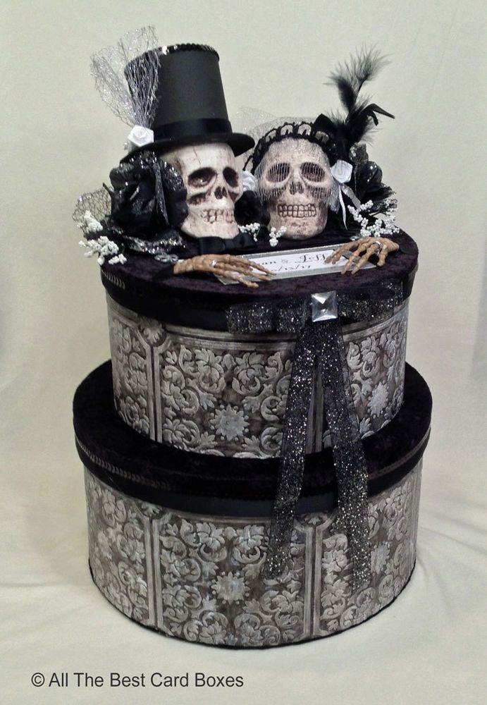Halloween Wedding Card BoxSkullBlackHandmadeCakeFabricholds 90 Cards Paper