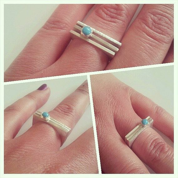 3 Sterling silver stacking rings with 1 turquoise and square edges by Jewelust on Etsy