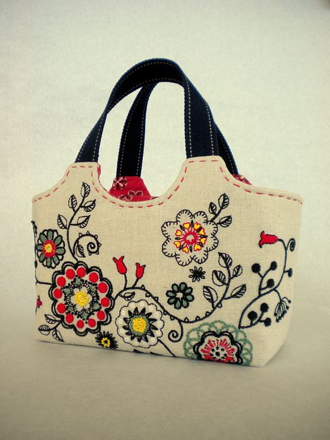 Folklore flower embroidery tote by hibilabo