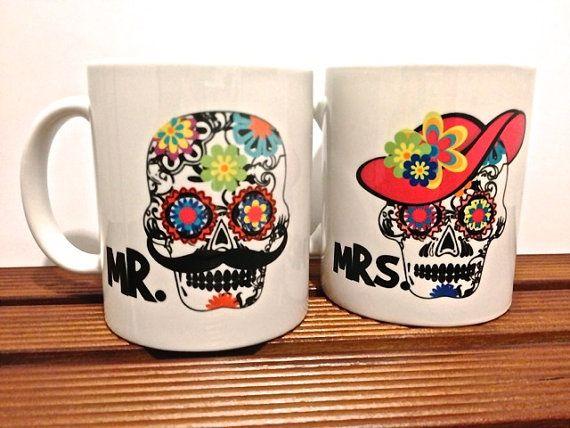 Sugar Candy Skulls , Day of the dead Mexican Folk Art - LA art Mr. and Mrs. Mug set Bright colors on Etsy, $25.00