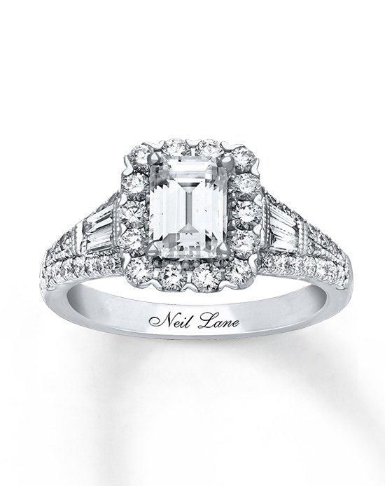 kay jewelers engagement ring from neil lane collection in white gold with emerald cut i style - Kays Wedding Rings