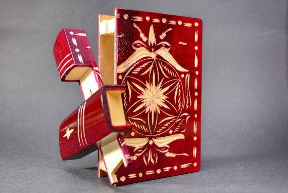 Secret compartment romanian puzzle box wood book by TransylvanyArt