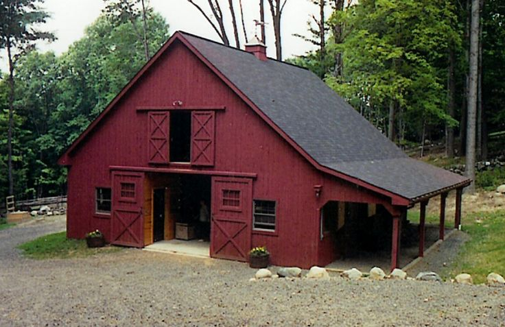 """Closest style to barn I grew up with. Ours had 3 upstairs doors on each end and outside stalls on both sides.  It was much bigger,  Cool in the Summer & Warm in the Winter with no artificial """"help"""", just great design circa 1900."""