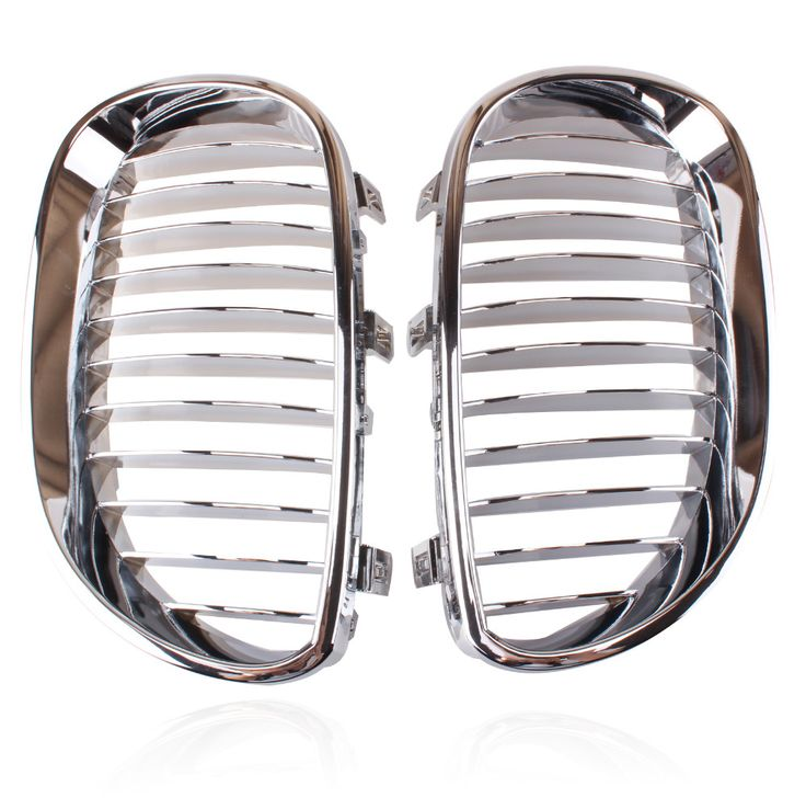 New Arrival  2x Silver Chrome Front Hood Kidney Sport Grills Grille For BMW M5 E60  E61 5 Series 2003-2009 Free Shipping #Affiliate
