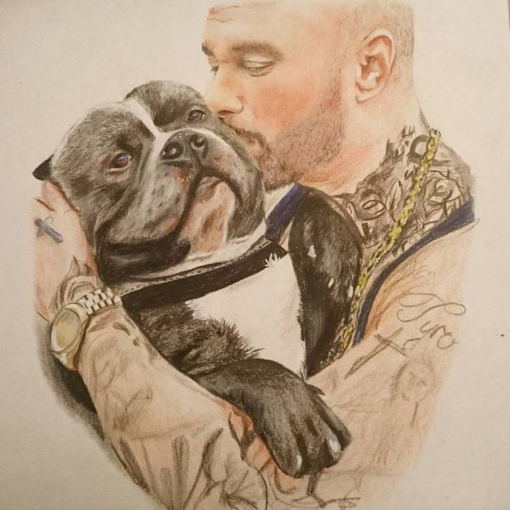 realistic painting of my best friend Dany the dogg and his dog Bullet