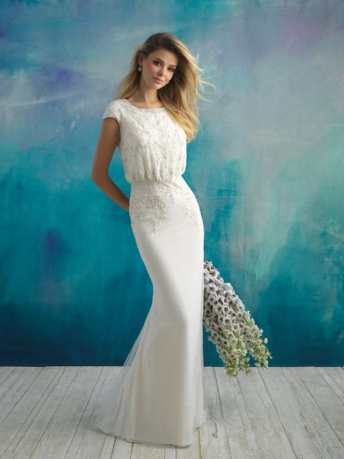 3ca17c8336d1 Modest wedding dress from Fantasy Bridal. Modest, fitted, beaded top,  blouson top