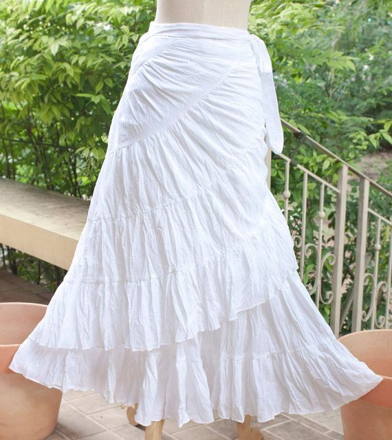 Boho Summer Cotton Maxi Wrap Skirt, Bohemian Hippie Gypsy Wedding Skirt, Broomstick Flowing Long Skirt in White