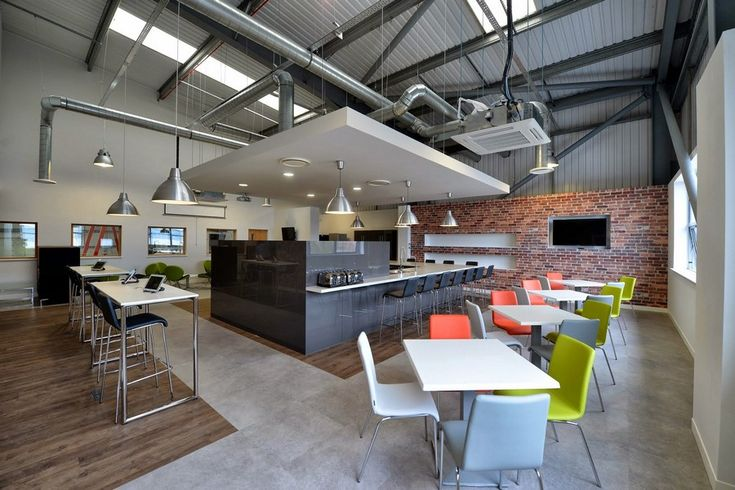 Break Out and Dining Space in Manchester With Industrial Influences #officedesign