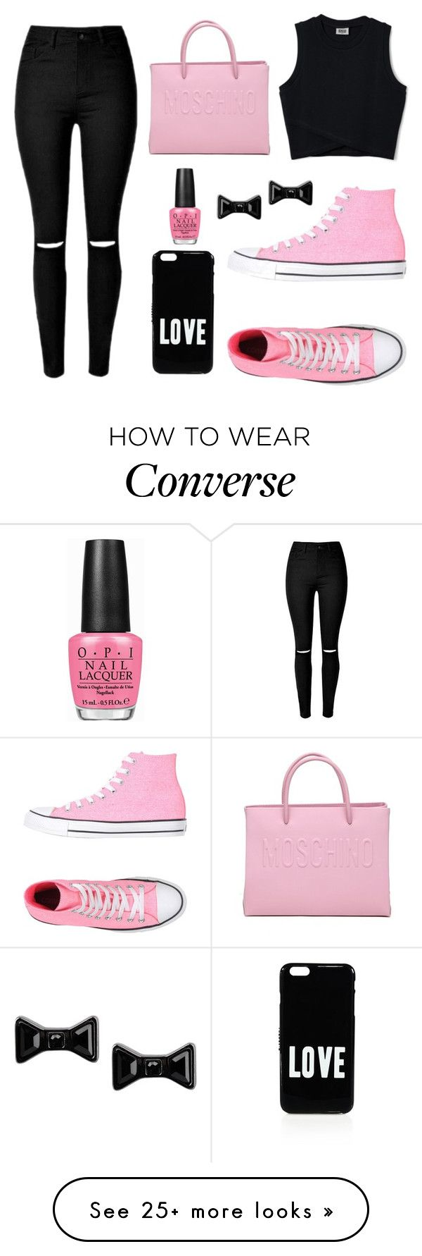 """""""Pink Converse"""" by fashionismybtch on Polyvore featuring Converse, Moschino, Givenchy, Marc by Marc Jacobs and OPI"""