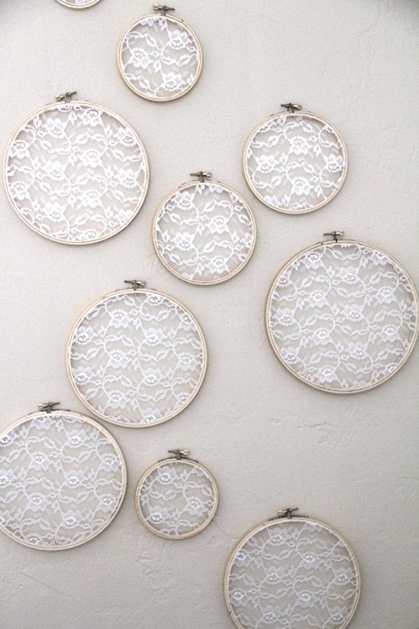 Best Embroidery Hoop Lace Wall Art add pastel color fabrics behind the lace perfect for Wedding Dress LaceReuse Wedding