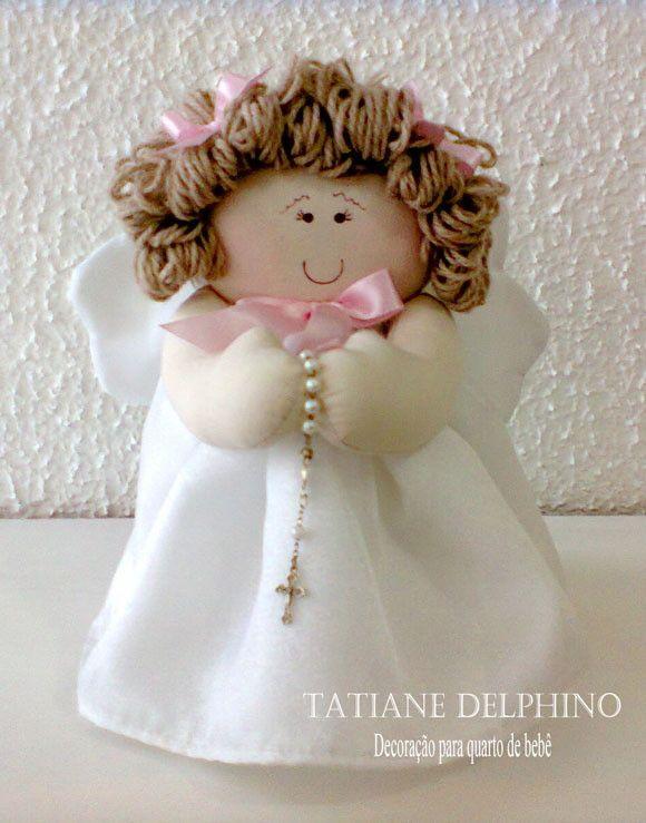 Anjo com terço | Ateliê Tatiane Delphino | Elo7