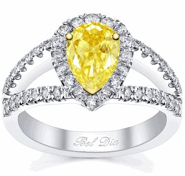 Pear Canary Yellow Diamond Engagement Ring - click to enlarge