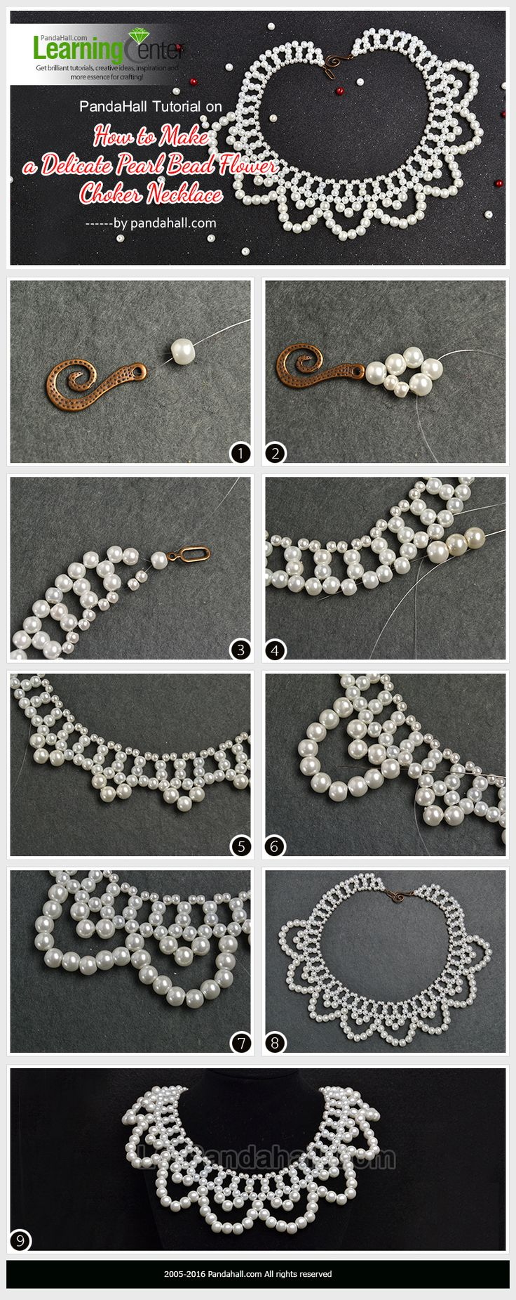 PandaHall Tutorial on How to Make a Delicate Pearl Bead Flower Choker Necklace from LC.Pandahall.com