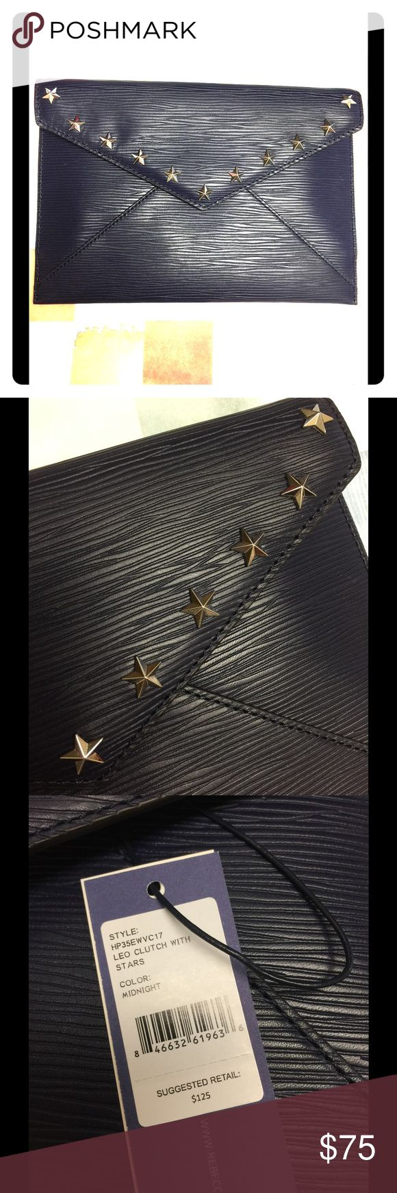 NWT Rebecca Minkoff Leo Envelope Clutch w/ Stars Textured dark navy Clutch with silver star studs, new with tags, perfect condition, no strap but a plain chain long necklace looped around the flap would be perfect! Lightweight and easy to carry, could even double as an XXL wallet for travel! NON NEGOTIABLE PRICE thank you for understanding ❤ Rebecca Minkoff Bags Clutches & Wristlets