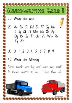 This is a set of boys themed handwriting cards in the official New Zealand basic handwriting font.Each card includes the alphabet, numbers 0-9 and one of my original poems. These cards have been made with boys in mind and could be used for junior school and even up into year 3.Students use these cards to copy into their handwriting book.