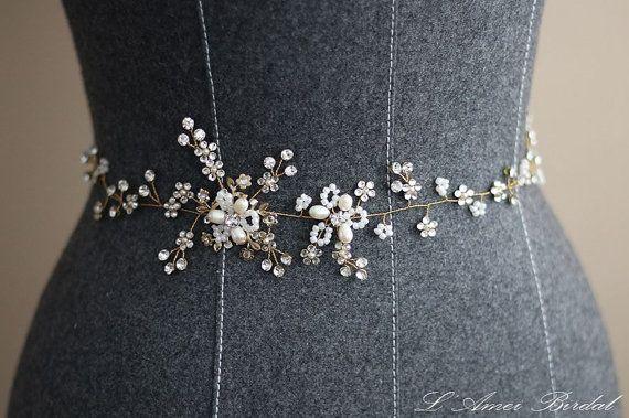 Bridal Sash Belt Wedding Sash Belt golden Crystal