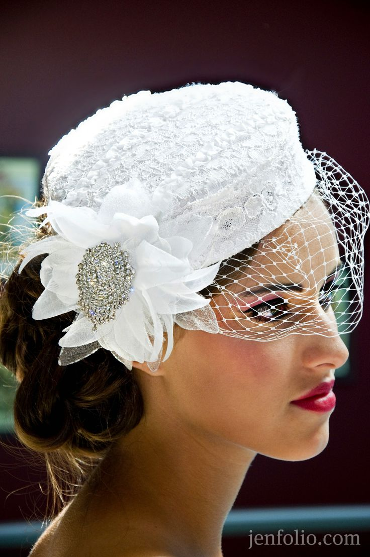 This is very similar to my own wedding hat.  Mine was a creamy ivory color.  My mom and I made it.