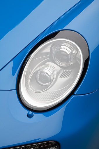 AUT 30 BK0075 01 © Kimball Stock 2011 Porsche 911 Speedster Convertible Blue Headlight Detail
