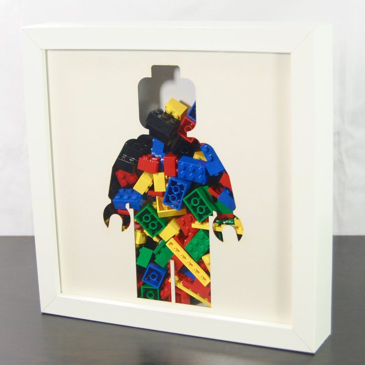 Lego Shadow Box For Storing Lego - Custom Silhouette Minifig Aperture Art Frame - Laser Cut 3D Collage Frame For Holding Lego