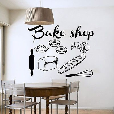 Bakery Wall Decal Kitchen Cafe Vinyl Stickers Home Decor Interior Design The size of the decal is 22''x 28'' If you need custom size please contact us at first, because the price depends on the size!