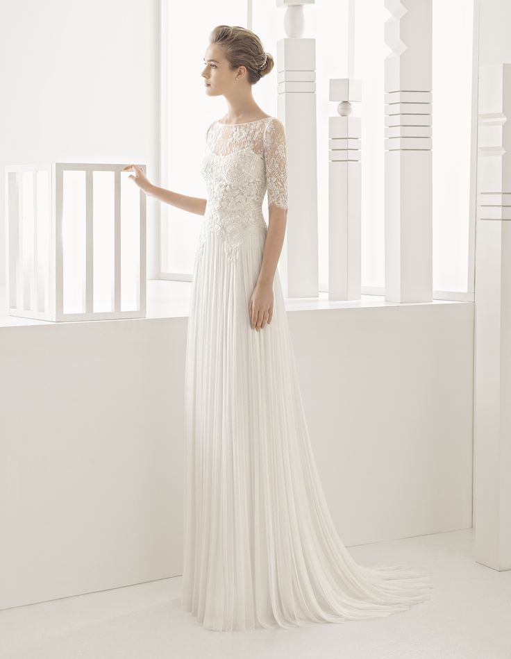 Wedding Dresses out of Rosa Clará (NARDO), collection rosa clará, silhouette straight cut, neckline illusion, long, with sleeves