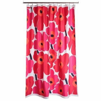Marimekko Red Unikko Long Polyester Shower Curtain - Click to enlarge