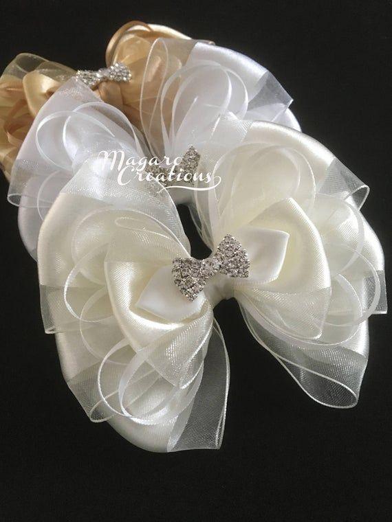 DIY 10 Baby Kids Satin Flower Hair Bow For Headband Hair clip Wedding Decor BB