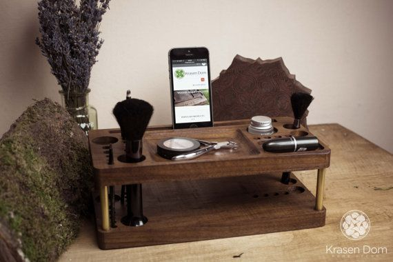 Wooden Makeup makeup organizer with the docking station.