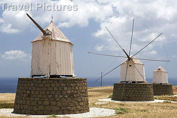 Old-fashioned Windmills On The Portuguese Atlantic Island Of Porto Santo (Madeira Islands)