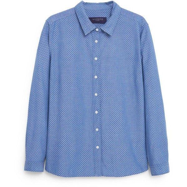 Geometric Denim Shirt (4.735 RUB) ❤ liked on Polyvore featuring tops, denim button shirt, geometric shirt, mango shirt, long sleeve tops and blue button shirt