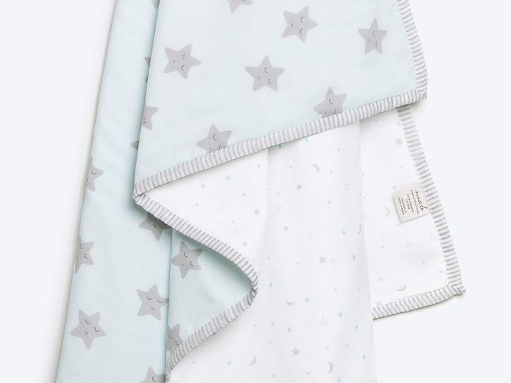 Sleepy Star-Organic Cotton Baby Blanket, Star Blue Baby Blanket, Star Baby Blanket, Baby Blanket, Baby Shower Gift, Baby Boy Gift, Star