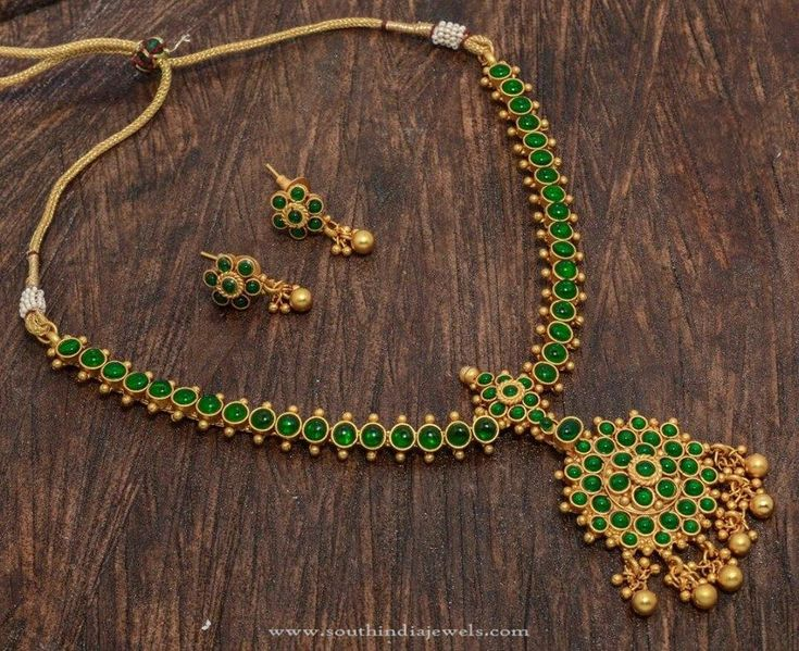 One Gram Gold Plated Green Stone Necklace, Imitation Green Stone Necklace Designs.