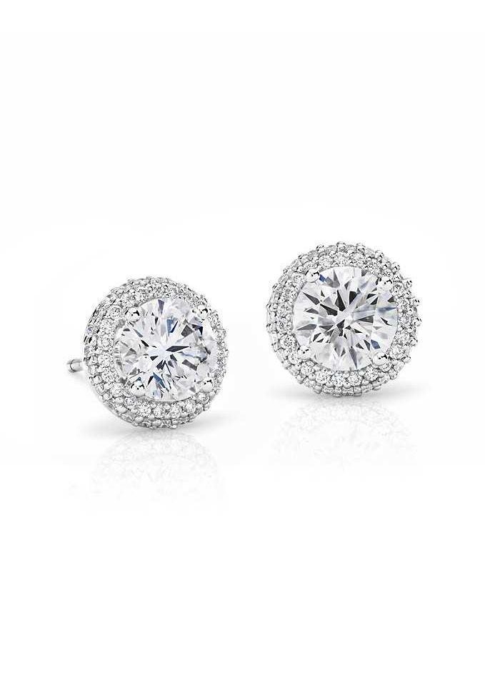 Signature Rollover Halo Diamond Stud Earrings in Platinum (2 ct. tw.)